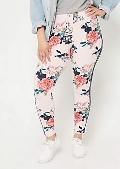 Plus High Waisted Floral Print Varsity Striped Leggings