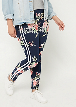 Plus Navy Floral Varsity Stripe Leggings