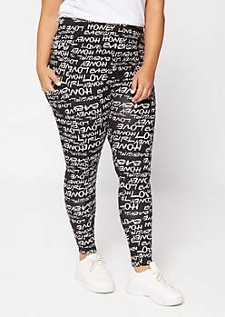 Plus Black Script Super Soft Cell Phone Pocket Leggings