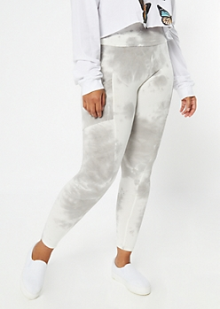 Plus Gray Tie Dye Super Soft Cell Phone Pocket Leggings