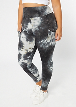 Plus Black Tie Dye Cell Phone Pocket Leggings