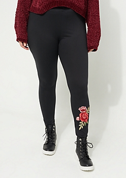 Plus Black Soft Knit Floral Applique Leggings