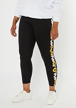 Plus Black Sunflower Print Super Soft Leggings