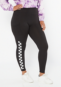 Plus Black Checkered Print Vibe Cell Phone Pocket Leggings