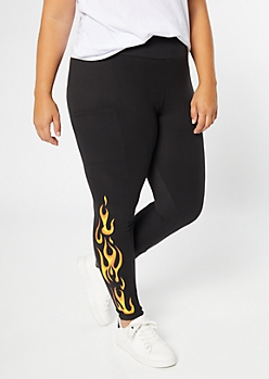 Plus Black Flaming Cell Phone Pocket Leggings