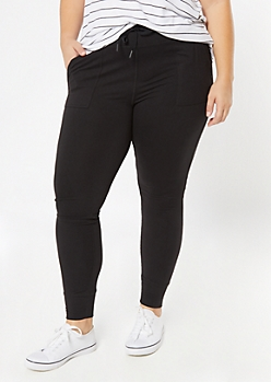 Plus Black Super Soft Jogger Leggings