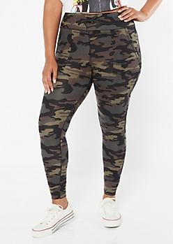 Plus Camo Print Super Soft Drawstring Leggings