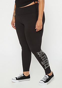 Plus Black Rhinestone Angel Super Soft Leggings