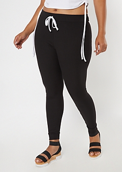 Plus Black Super Soft Ribbed Knit Leggings