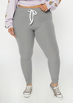 Plus Heather Gray Super Soft Ribbed Knit Leggings