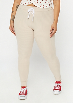 Plus Taupe Super Soft Ribbed Knit Leggings