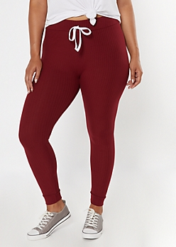 Plus Burgundy Super Soft Ribbed Knit Leggings