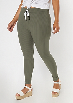 Plus Olive Super Soft Ribbed Knit Leggings