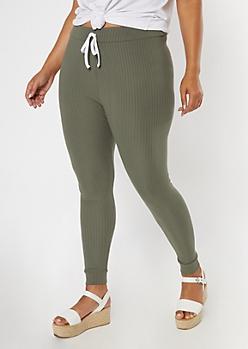 Plus Olive Super Soft Ribbed Knit Leggings