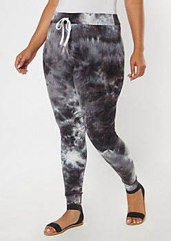 Plus Black Tie Dye Super Soft Ribbed Knit Leggings