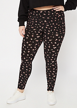 Plus Black Floral Print Super Soft Jogger Leggings