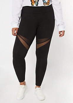 Plus Black Mesh Super Soft Cell Phone Pocket Leggings