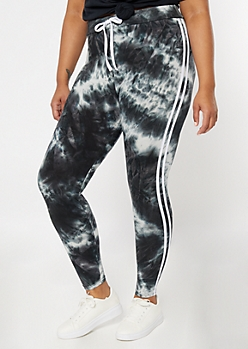Plus Black Tie Dye Super Soft Striped Jogger Leggings