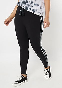 Plus Black Super Soft Tie Dye Striped Jogger Leggings