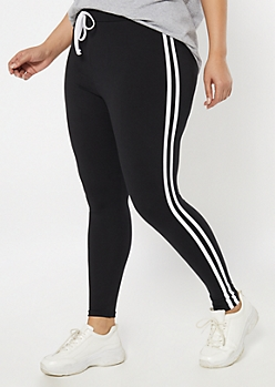 Plus Black Super Soft Striped Jogger Leggings