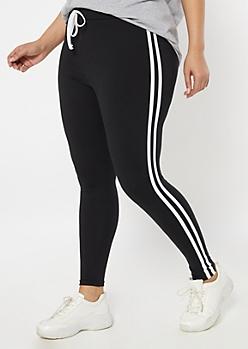 Plus Black Super Soft Striped Jogger Leggings