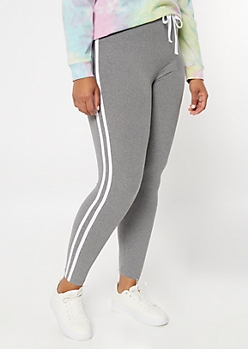 Plus Gray Super Soft Striped Jogger Leggings