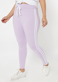 Plus Lavender Super Soft Striped Jogger Leggings