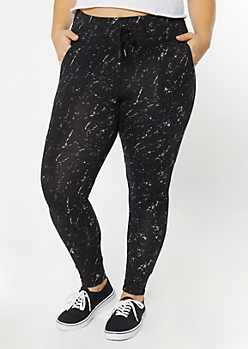 Plus Black Marbled Super Soft Jogger Leggings
