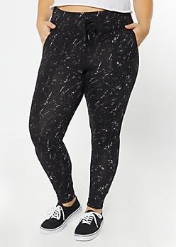 Plus Black Marbled Super Soft Jogger Leggings