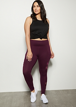Plus Purple Mesh Cell Phone Pocket Leggings