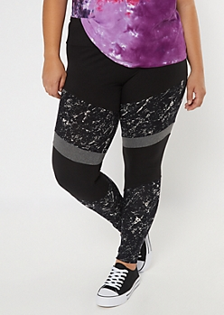 Plus Black Marble High Waisted Colorblock Leggings