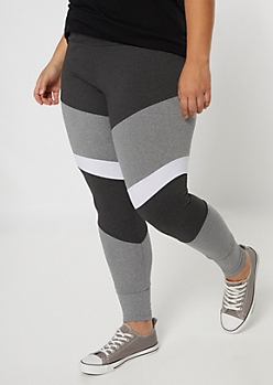 Plus Gray High Waisted Colorblock Leggings