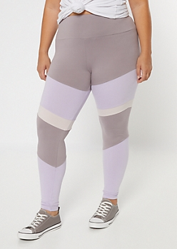 Plus Lavender High Waisted Colorblock Leggings