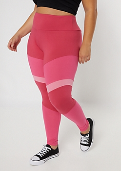 Plus Pink High Waisted Colorblock Leggings
