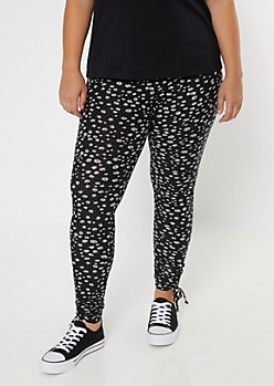 Plus Daisy Print Drawstring Cinched Leggings