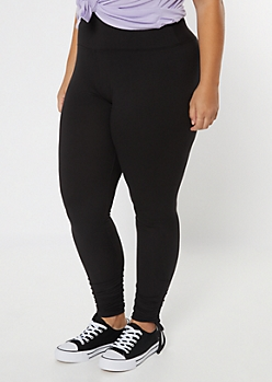 Plus Black Drawstring Cinched Leggings
