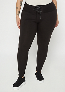 Plus Black Lace Up Leggings