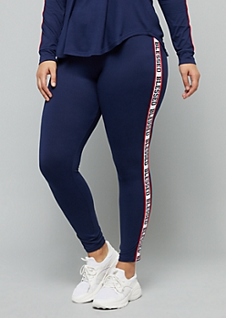 Plus Navy Blessed Side Striped Mid Rise Leggings