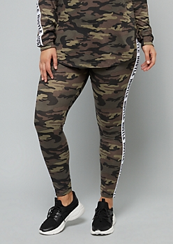 Plus Camo Print Hustle Side Striped Mid Rise Leggings