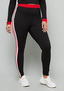 Plus Red Side Striped Super Soft High Waisted Leggings