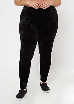 Plus Black Crushed Velvet Leggings