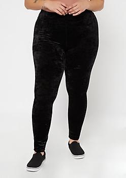 Plus Black Crushed Velvet Leggings
