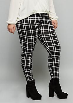 Plus Black Plaid Print Super Soft High Waisted Leggings