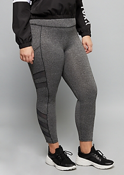 Plus Gray Mesh Striped Side Pocket Super Soft Leggings