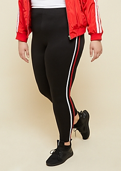 Plus Black High Waisted Super Soft Red Stripe Leggings