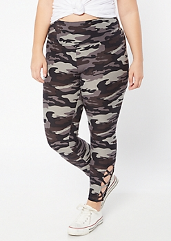 Plus Black Camo Print Super Soft Lattice Leggings