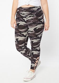 Plus Black Camo Print Super Soft Lattice Leggings