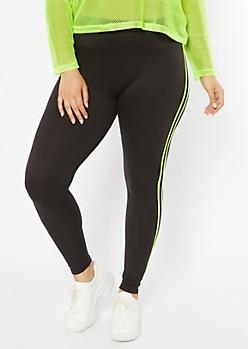 be3e5c31e81b24 Plus Black Neon Double Side Striped Super Soft Leggings