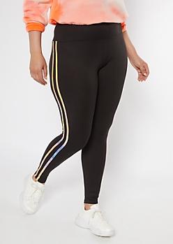 Plus Black Tie Dye Double Side Striped Super Soft Leggings