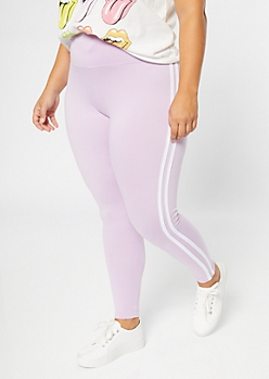 Plus Purple Double Side Striped Super Soft Leggings